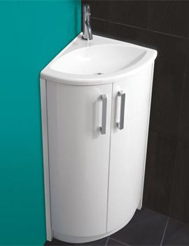 The Art Gallery HIB Solo White Corner Vanity Unit And Basin x mm