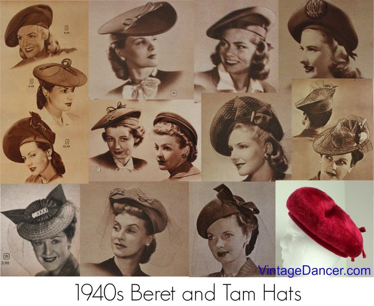 Women's 1940s hat styles like the turban, beret, calot, cartwheel, bonnet, and sailor as well as head scarves, hair flowers, and snoods were fashionable.