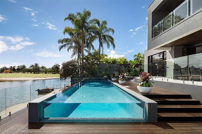 Beautiful The Most Popular Swimming Pool Design And Ideas To Try At Home Met2773 Riviera Hero In 2021 Display Homes Swimming Pool Designs Outdoor Design