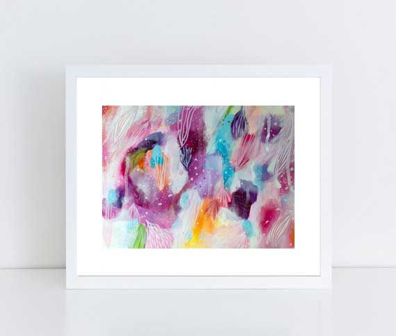 Abstract Colorful Painting, Intuitive Painting, Floral Painting, Girly decor