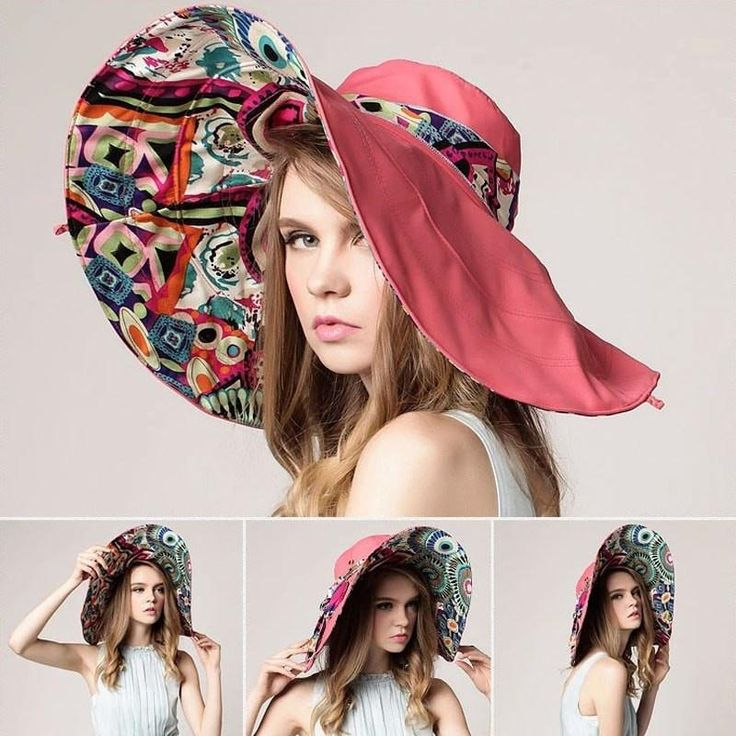 Fashion Floral Large Wide-Brim Foldable UV-Resistant Summer Beach Hat 5 Colors