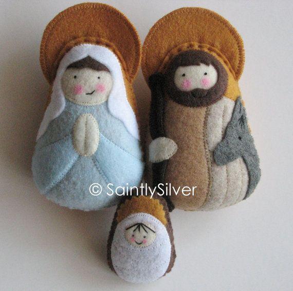 Small Nativity Felt Saint Softie Set... $43,50.   Prayers on his backs: http://img2.etsystatic.com/005/0/5177053/il_570xN.397476462_ceiq.jpg