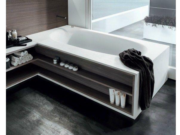 vasca in cristalplant con vano a giorno in legno ad angolo vascamisura vasca da bagno