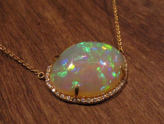 124 best ethiopian opal jewelry images on pinterest opal jewelry natural opal diamond pendant 18k yellow gold by bimbamnation 253000 aloadofball Choice Image