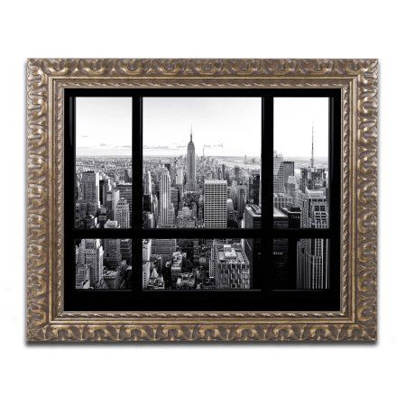 Trademark Fine Art View of New York City Canvas Art by Philippe Hugonnard, Gold Ornate Frame, Size: 16 x 20, White