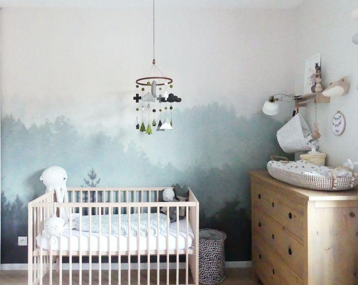 Chambre De Bebe Mixte Theme Nature Avec Un Papier Peint Foret
