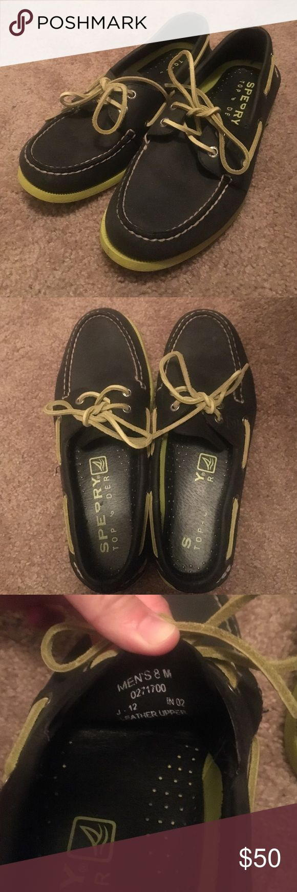 Sperry Topsider men's size 8/women's size 9 Black sperry topsiders with lime green soles, laces, and accents. They are men's size 8, work for women's size 9. They have only been worn once. Sperry Top-Sider Shoes Flats & Loafers