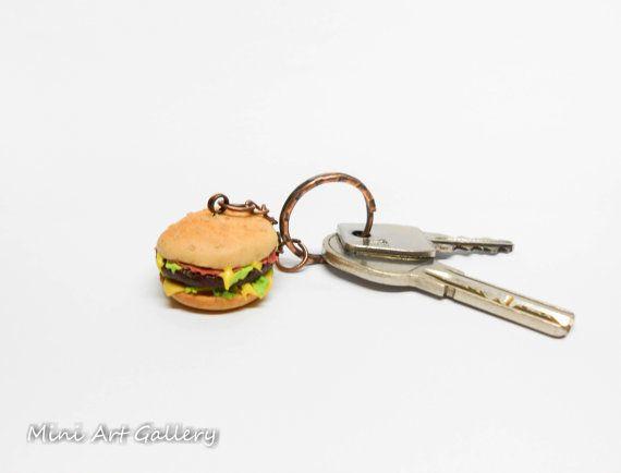 Hamburger keychain / miniature food accessory / cheeseburger fast food burger charm / junk food / kawaii realistic foodie / handmade fimo.  © Mini Art Gallery
