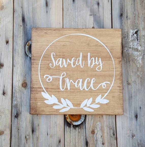 Bible verse wall art, Saved by Grace, Wood wall art, Wooden signs with scripture, Christian sign