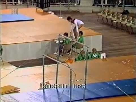 Olga Korbut. WOW! Performing a now-banned move on the uneven bars.