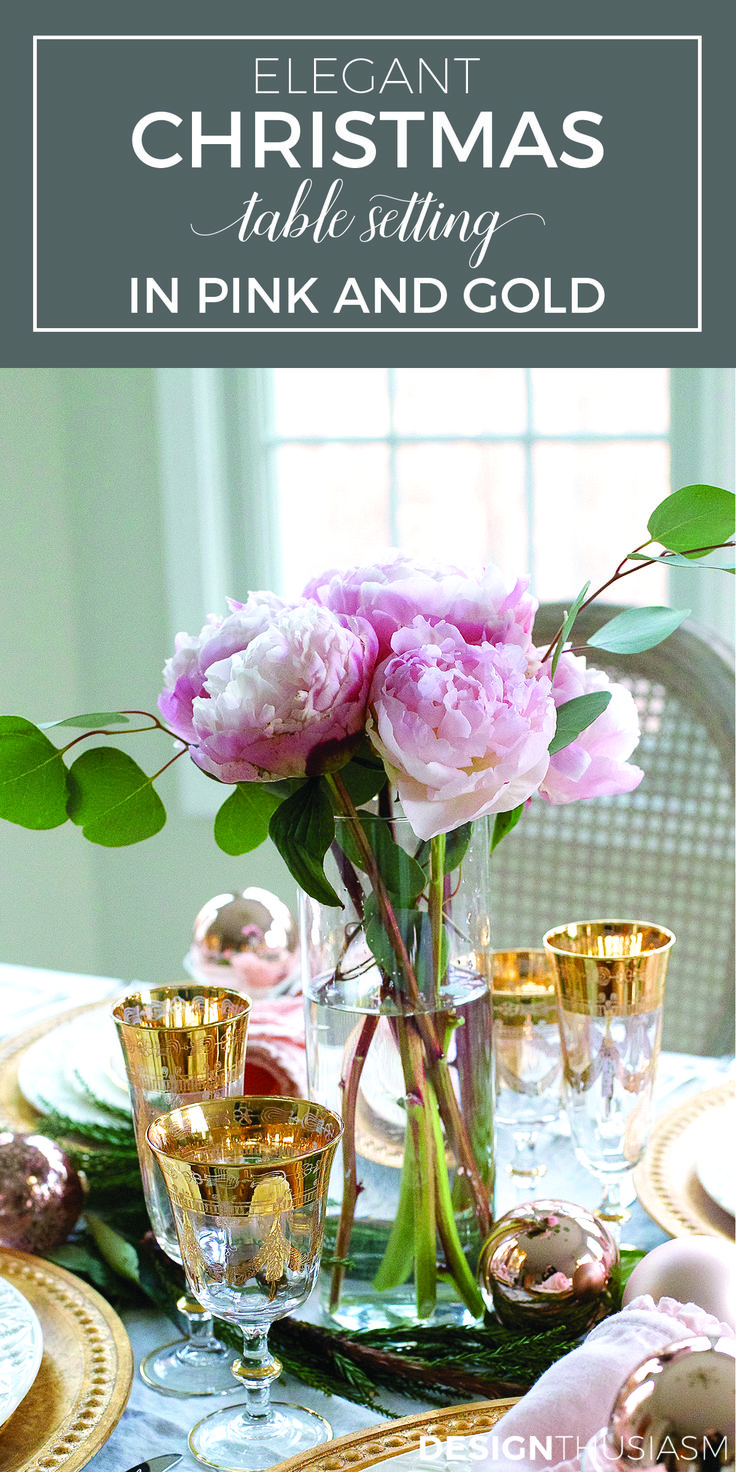 Pink christmas table decorations - Elegant Christmas Table Setting With Pink And Gold