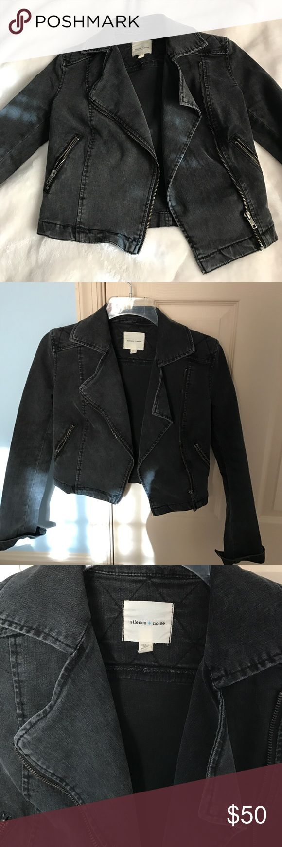 MOTO-style jacket Motorcycle style jacket in black denim. purchased from Urban Ourfitters. Size XS, great for petite ladies. For reference, I'm about 5 ft, 96 pounds. Worn at most, 3 times. Almost like new. silence + noise Jackets & Coats Jean Jackets