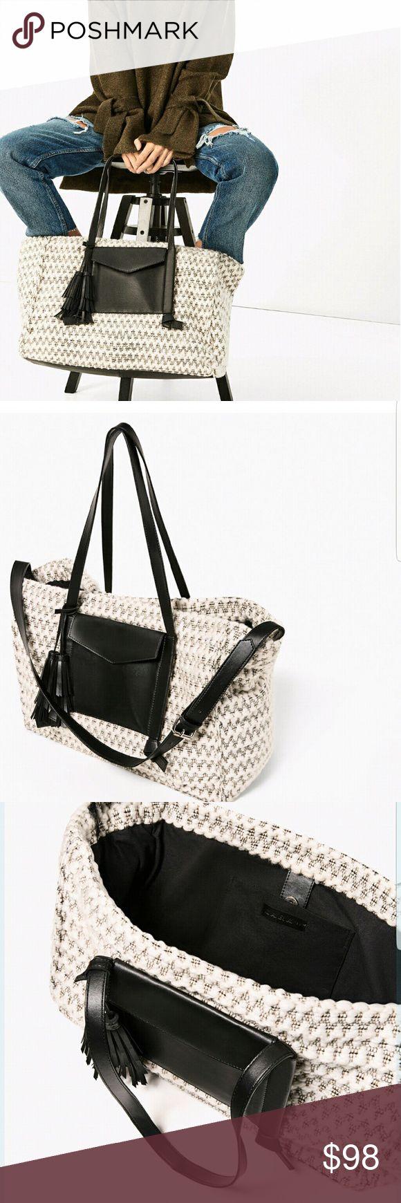ZARA LARGE FABRIC TOTE BAG BRAND NEW ZARA TOTE BAG BRAND NEW. 12.9 x 17.3 x 7.8 Zara Bags Totes
