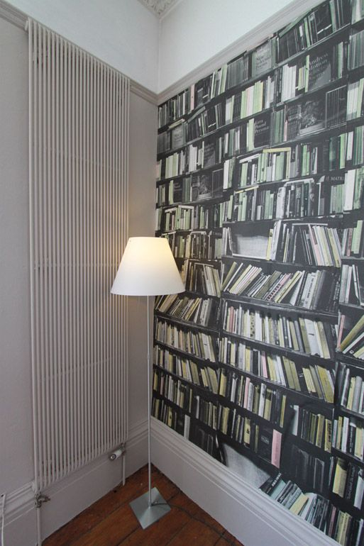 Genuine Fake Bookshelf. WALLPAPER by deborah bowness. AndArchitects.