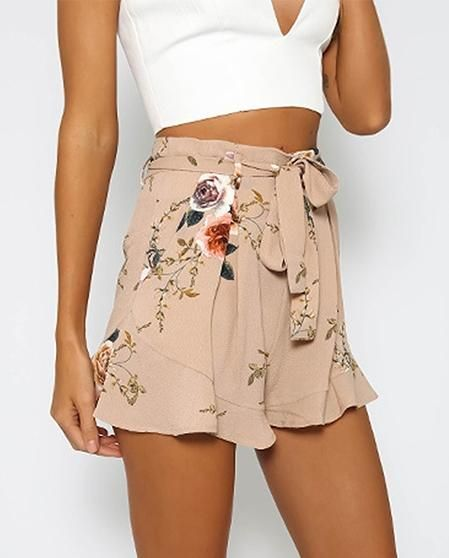 fe8c38669a7 Women's Summer Casual High Waist Shorts With Floral Print in 2019 ...