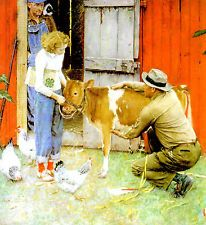 Original Norman Rockwell Paintings | Norman Rockwell -F- 4H Visit a Classic art painting print