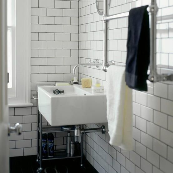 Flat Paint Bathroom: Grey Grout + Flat Metro Tile. Interesting To Think About A