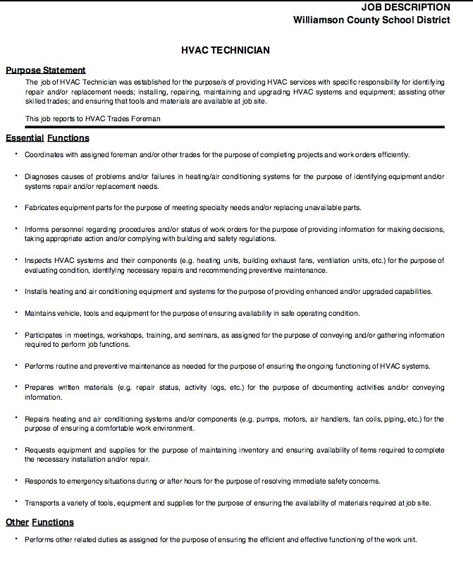 hvac technician job description -    resumesdesign hvac - example of resume for a job