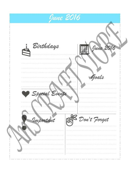 June 2016 Blank insert for MAMBI Happy Planner by AnSCraftsStore