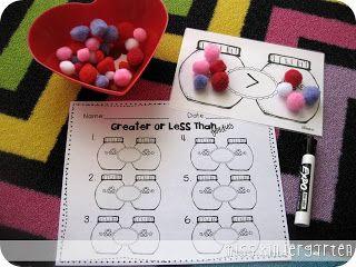 Miss Kindergarten: Greater or Less Than Goodies {math center}