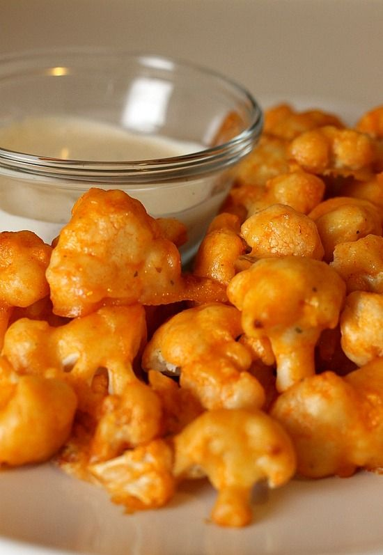Buffalo Cauliflower. These don't taste like chicken, but the spicy flavor and texture are pretty close to boneless wings.