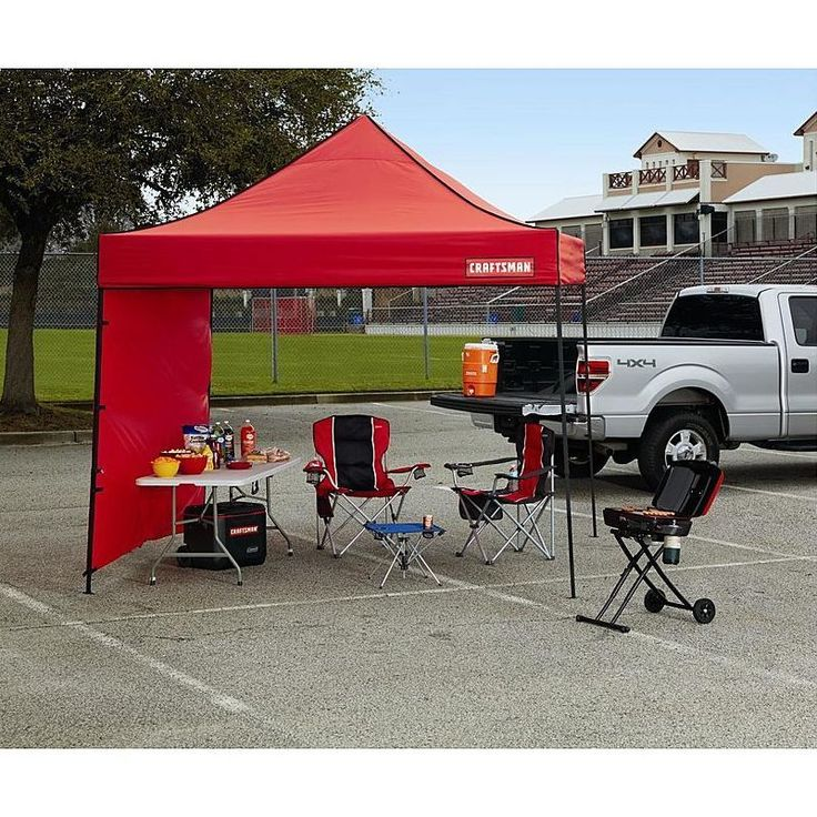 EZ Up Canopy 10x10 Commercial Folding Tent Red Gazebo With Sidewall Roller Bag #Craftsman