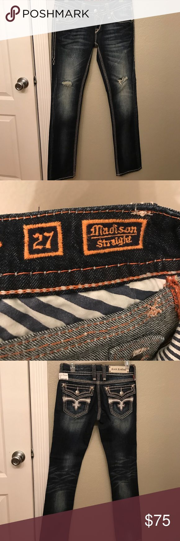 "Rock Revival Denim jeans Rock Revival Denim Jeans size 27x32 ""Madison"" Straight leg. BNWT Rock Revival Jeans Straight Leg"