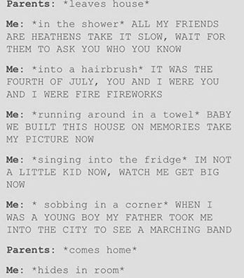 ME ME ME ME ITS EVEN ALL THE SONGGGGGGGS I SINGGGGGGG HOOOOOOWWWWW (tøp, fall out boy, Melanie Martinez, MCR)