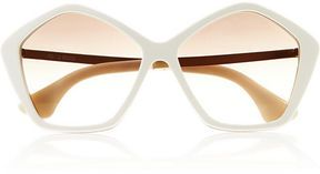 ShopStyle: Miu Miu Hexagonal-frame acetate and metal sunglasses $340