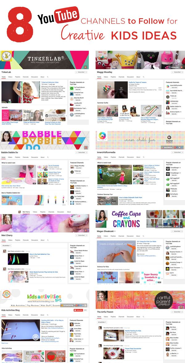 What an Inspiring List! 8 YouTube Channels to Follow for Creative Kids Ideas and Activities   TinkerLab