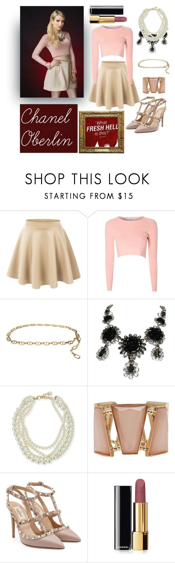 """""""Chanel Oberlin Costume - Scream Queens"""" by victoria-chinchilla-arques ❤ liked on Polyvore featuring LE3NO, Glamorous, MICHAEL Michael Kors, Philippe Ferrandis, Lulu Frost, M&Co, Valentino and Chanel"""