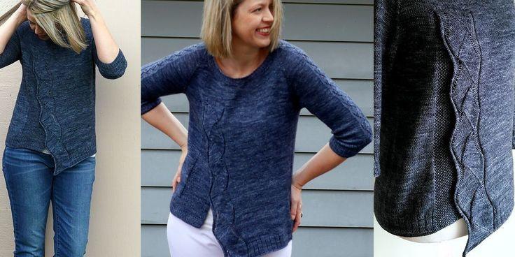 Женский пуловер с асимметричной полочкой, вязаный сверху вниз спицами одной деталью. Интересная модель А-силуэта в морской тематике на весну-лето с ажурной волной на распашной асимметричной полочке и рукавах.