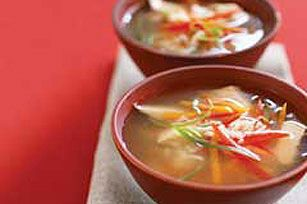 Strips of colorful veggies and fragrant minced gingerroot make this chicken soup as appetizing as it is delicious. As a bonus, it's quick to make, too!