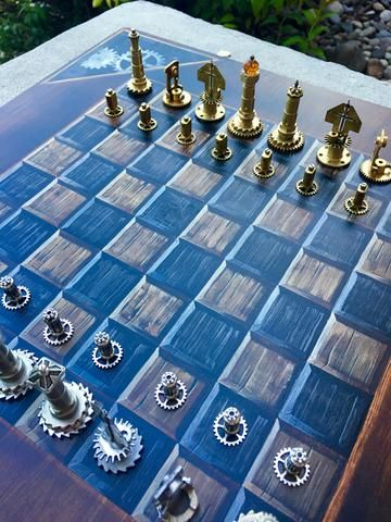 Stunning Handmade/Handpainted Steampunk Chess Set (play - The Brass Caliper - 8