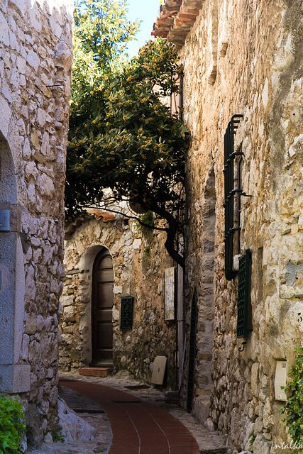 Eze Village ~ is a charming hilltop town on the Cote d'Azur w view of the Mediterrancean Sea, France