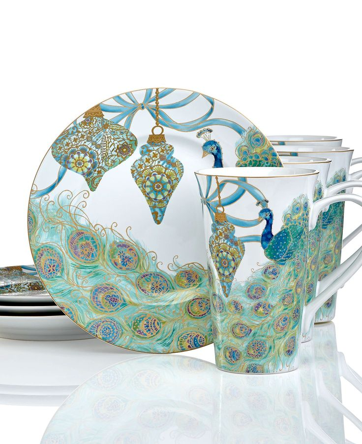 222 Fifth Holiday Lakshmi Peacock Collection Serveware