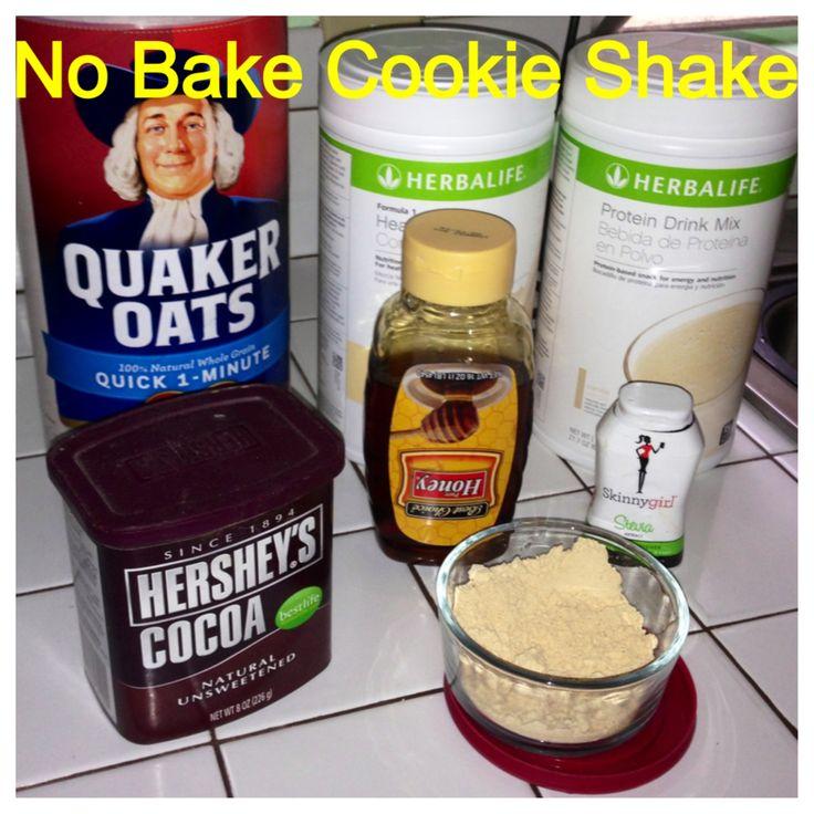 Herbalife No Bake Cookie Shake: PDM Van or Choc, Formula 1 Fr Van, 2 tbsp oats, 2 tbsp PB2, 2 tbsp cocoa, Drizzle Honey (optional), Squeeze liquid sweetener (optional).