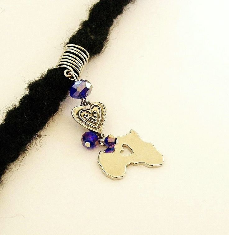 Dreadlock Jewelry - Silver-Plated Africa and Heart Charm Loc Jewel by TumbleGems on Etsy