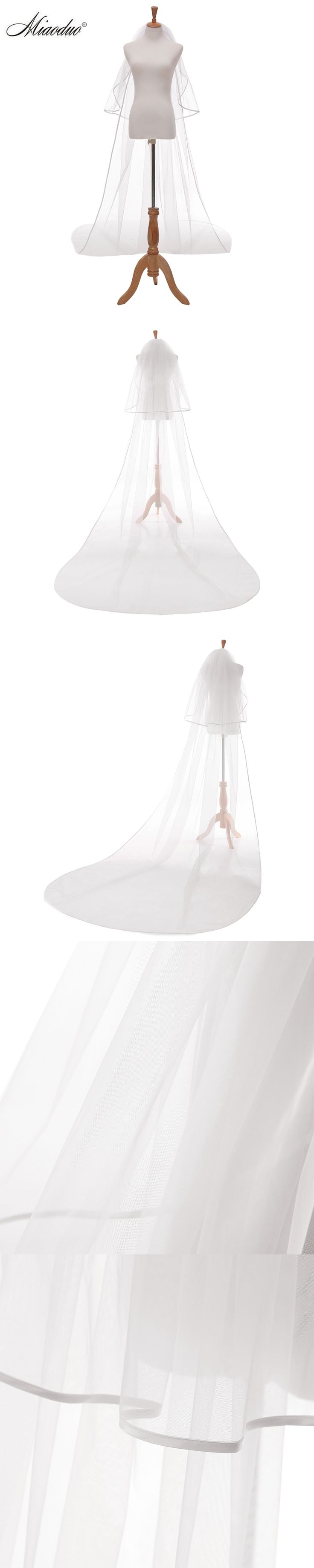 Miaoduo 2018 Nice Cut Edge Simple Cheap Wedding White Veil Wedding Accessories Velos De Novia voile de mariee