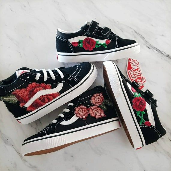 Toddler Size Custom Rose Embroidered-Patch Vans Sneakers ...