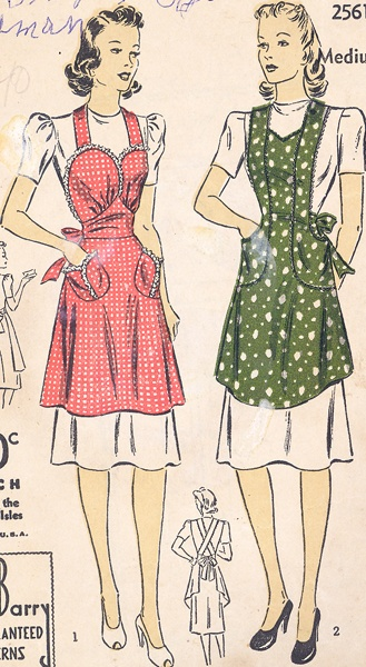 Commercial Pattern Archive: Vintage Sewing: Dubarry 2561 c.1940 Misses Apron. Click on broken link for pattern pieces