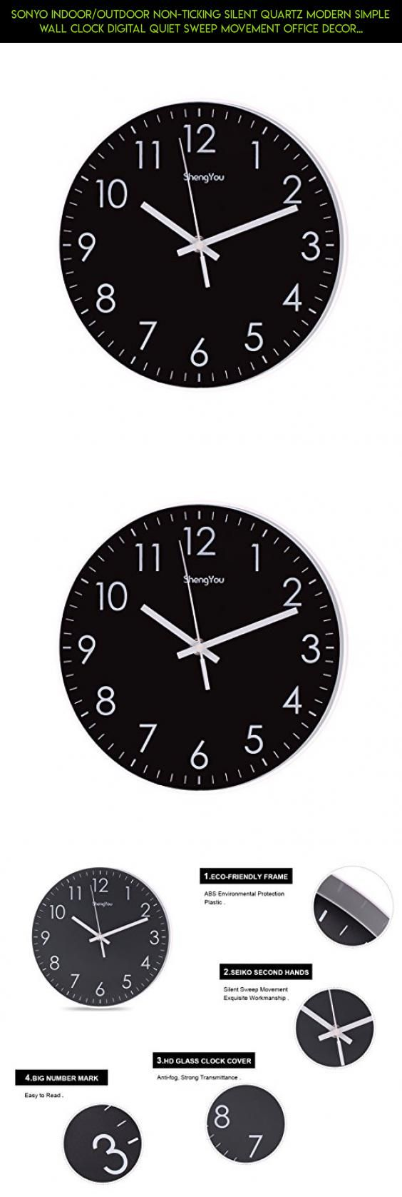 SonYo Indoor/Outdoor Non-Ticking Silent Quartz Modern Simple Wall Clock Digital Quiet Sweep Movement Office Decor 10 Inch(Black) #technology #decor #fpv #tech #outdoor #shopping #modern #racing #camera #drone #parts #kit #products #plans #gadgets