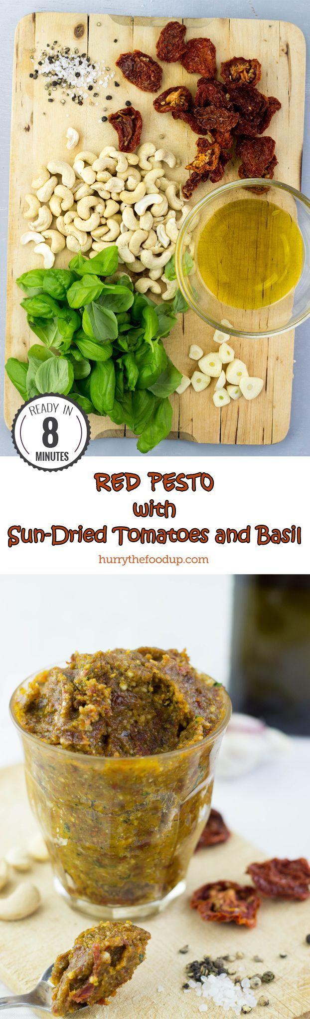 Red Pesto with Sun-Dried Tomatoes and Basil #vegan #pesto | http://hurrythefoodup.com