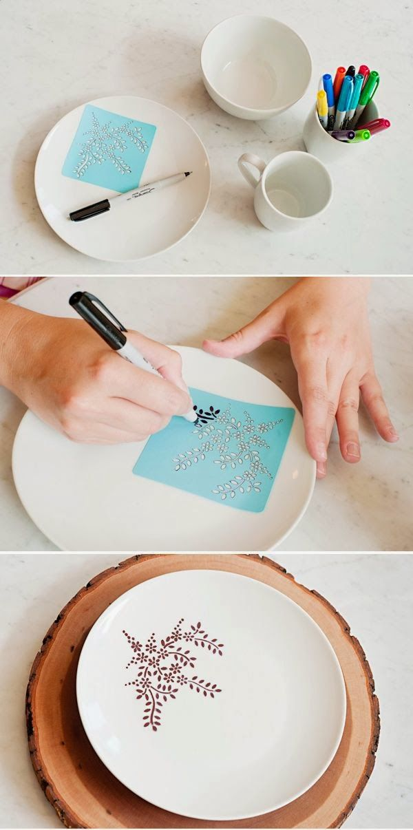 So much you could do with a Sharpie marker! Stencil plate with sharpie marker then bake for 30 min at 350 degrees