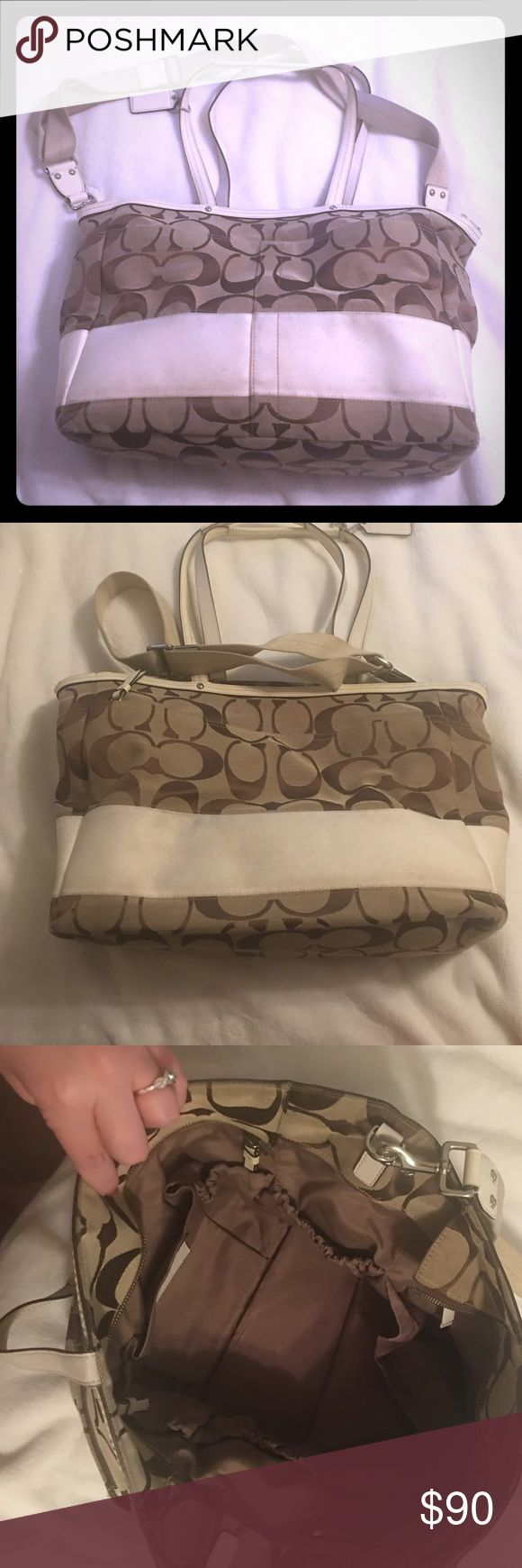 Coach diaper bag Coach diaper bag in signature print. Some staining on white accents and inside from use. Still has a lot of life left! Coach Bags Baby Bags