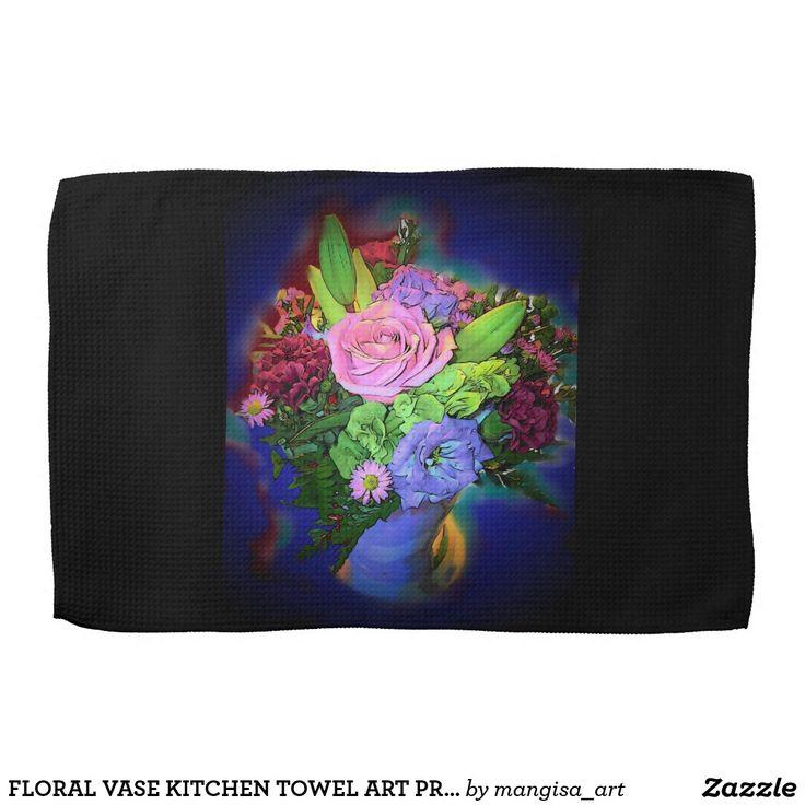 FLORAL VASE KITCHEN TOWEL ART PRINT