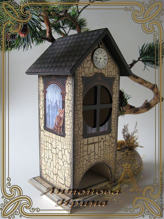 """Купить Чайный домик-""""Кошки на окошке"""" - бежевый, бежево-коричневый, чай, чайный домик, для чая"""