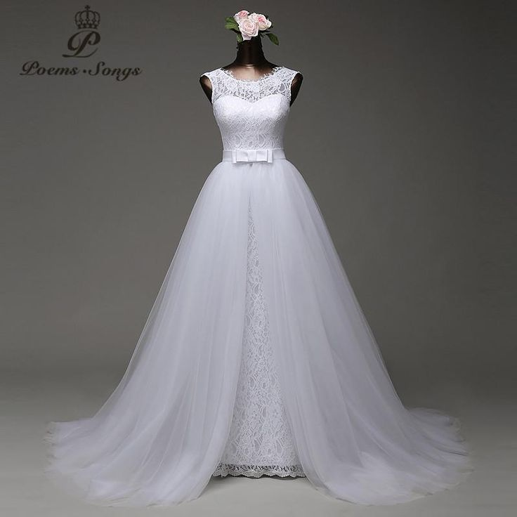 Mermaid Lace wedding dress with tulle detachable train