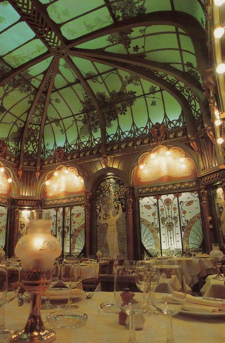 This stunning Art Nouveau dining room in the Langham Hotel, hidden behind walls for years, was rediscovered in 1978 when the new owner decided to expand the restaurant. It was designed by Emile Hurtre and painted by  Jules Wielharski.