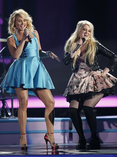 Miranda Lambert and Megan Trainor preforming at the cma's...so in love with both of them!!!